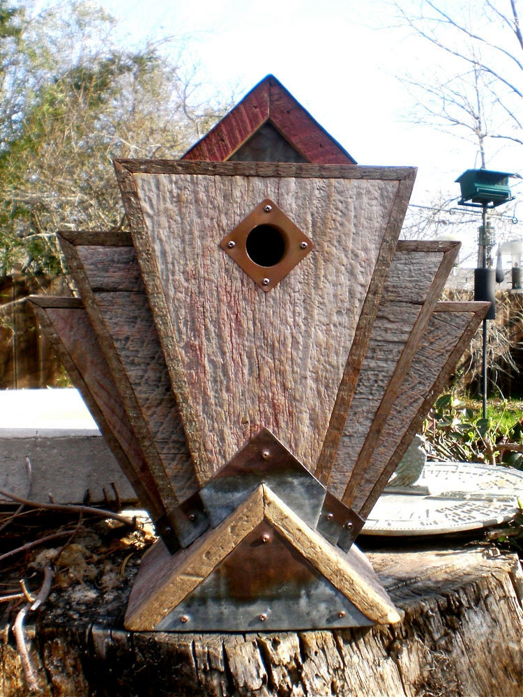 Art Deco Birdhouse Made From Vintage Barn Wood And Metal