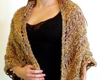 Shawl; Triangle Knit Shawl, Lacey Hand Knit Wrap, Comfort Shawl, Prayer Shawl - SIERRA Tans and Light Browns