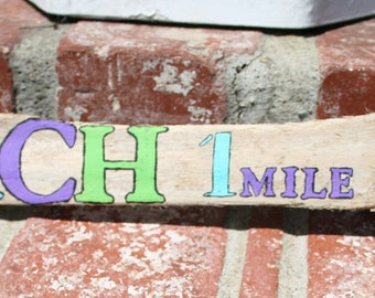 1 mile to the Beach Driftwood Sign with bright teals, greens, purples, red and yellow, Coastal Home decor (Made to Order)