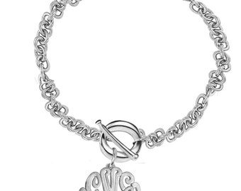 Personalized Monogram Initials Bracelet With Toggle Clasp - Large Link Chain (Order Any Name) - Toggle Bracelet with Platinum Overlay