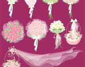 Bouquets, Bridal bouquets, Wedding bouquets Clip Art, Graphics Set
