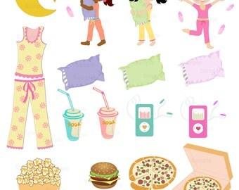 Slumber Party Clip Art Set