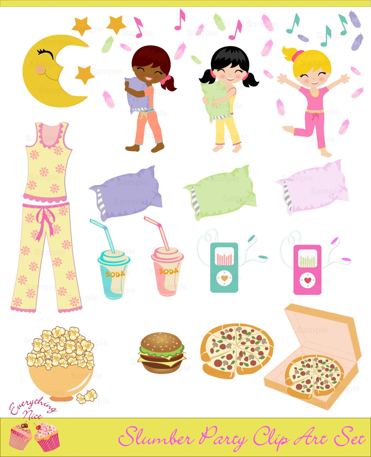 Slumber Party Clip Art Set by 1EverythingNice on Etsy