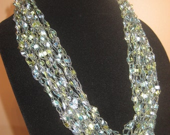 Hand-Crocheted Ribbon Trellis Necklace in Seascape