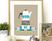 Cathrineholm Mid century modern Art print Poster illustration Coffee in Brown - A3 poster size print - mid century retro vintage