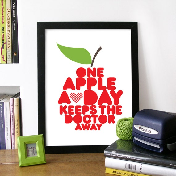 Quote Art Poster with Red Apple Illustrated drawn with kitchen Print Typography One Apple a Day keeps the doctor away health quote print art