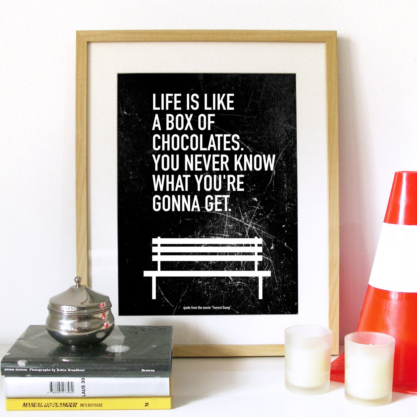 Movie Quote Forrest Gump Typography Art Poster Life is Like a