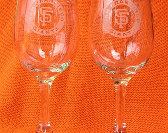 Pair of San Francisco Giants hand etched wine glasses Made in USA