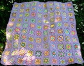Lilac and Flowers Crochet Granny Square Spring Blossom Newborn Baby Blanket