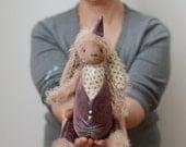 Stuffed Rabbit Peter - Cottony Soft Toy Bunny - Stuffed Animals - Artist Teddy Bears - Mohair Bunny