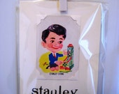 Birthday/New Job greeting card. 'Stanley Stone'. Genuine 1950s playing card mounted. Blank inside.