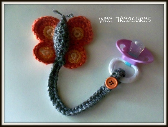 Items similar to Butterfly Crochet Pacifier Holder on Etsy