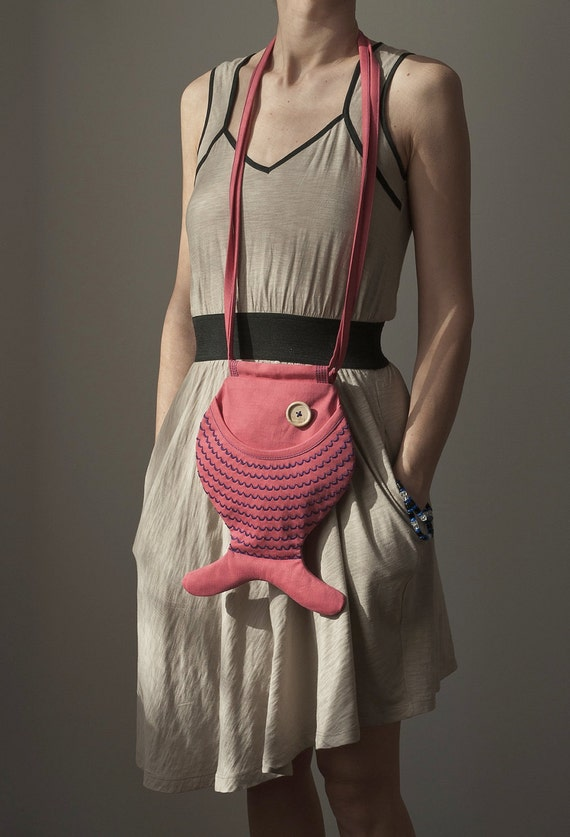Fish Bag Hot Pink Hipster Bag Pink Bag Summer Bag For Festivals Beach Accessories Nautical Fun Kawaii Cute Bag Gift Ideas Tropical Ocean