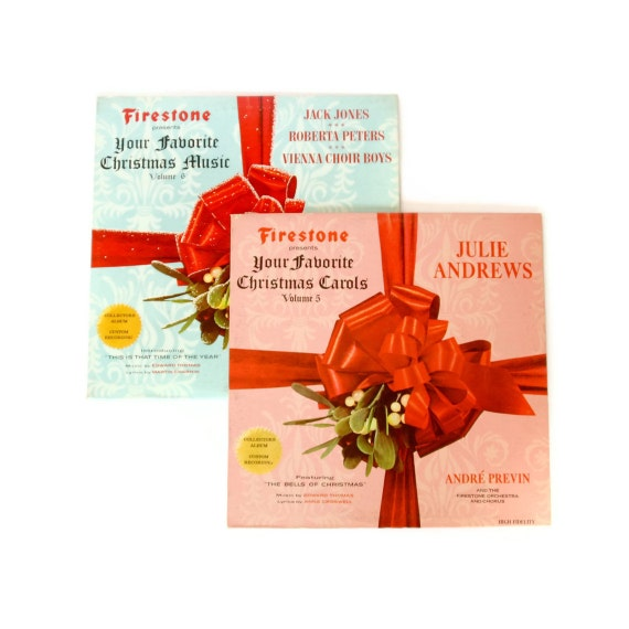 Christmas Vinyl Records - Set of 2 - Your Favorite Christmas Music Presented by Firestone