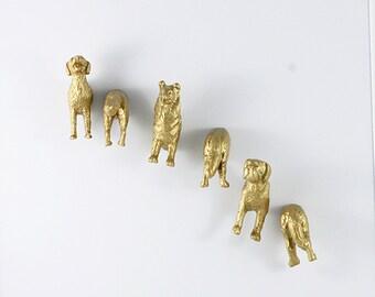 Dog lover magnet set in gold -  Set of six (6) magnets - adult gag gift