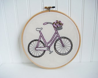 flower basket bicycle hand embroidery pattern