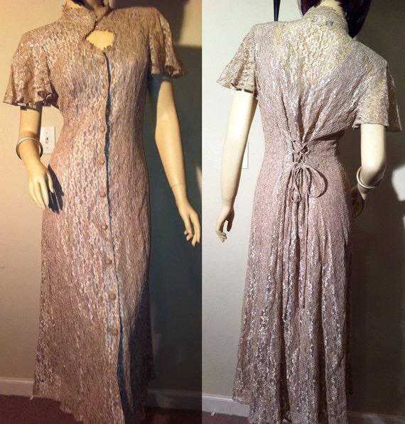 High Collar, Nude Lace Corseted Dress: Dawn Joy Fashions