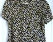 SALE Vintage 100% SILK Short Sleeve Blouse in Leopard Print
