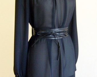Vintage SHEER Black A-line Dress with Neck-Scarf size Small-Large