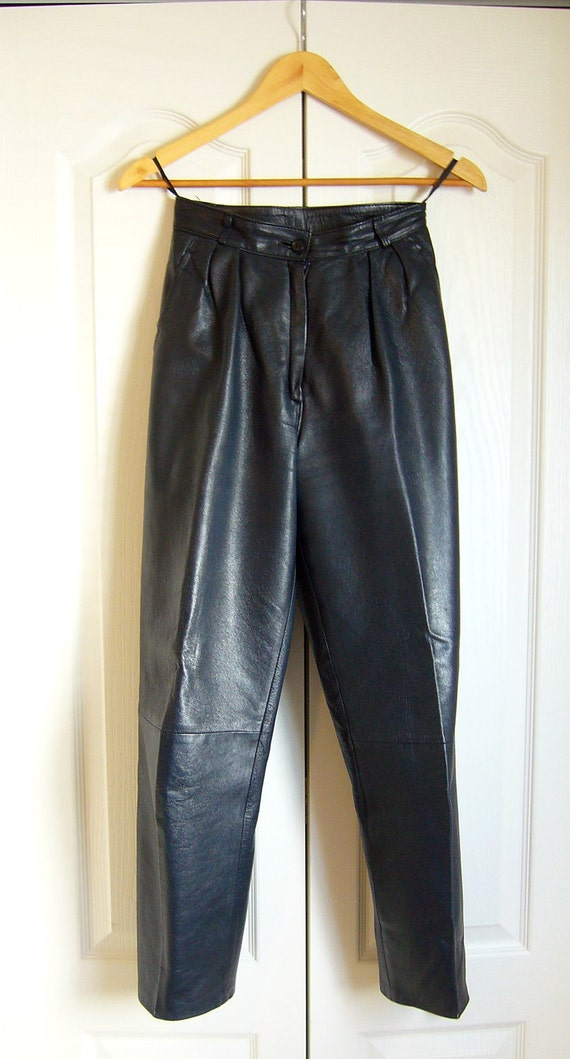 Vintage Navy Blue LEATHER Cropped Pants/Special Listing