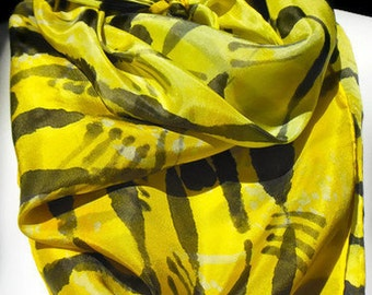 """Sun glow Yellow Square SILK SCARF. Hand Painted Silk Scarf by New York  artist Joan Reese/ 30""""x30"""" /100% Silk"""