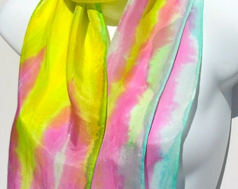 Cotton Candy Colors. Pink,Yellow,Blue/ Metallic Accents SILK SCARF. Hand Painted 100% Silk Scarf by NYC artist Joan Reese/One of a kind