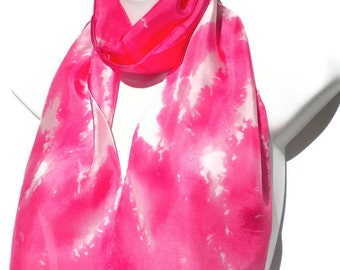 Hot Pink SILK SCARF for Women. Hand Painted Silk Scarf by New York artist Joan Reese/ 100%Silk /Wear as sash/head wrap....