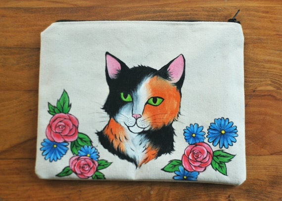 roses&kitties // Hand-painted Zipper Pouch