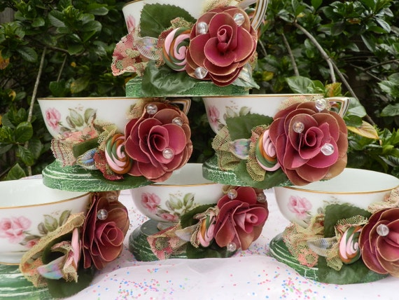 2 Rose Garden Tea Party Tea cups