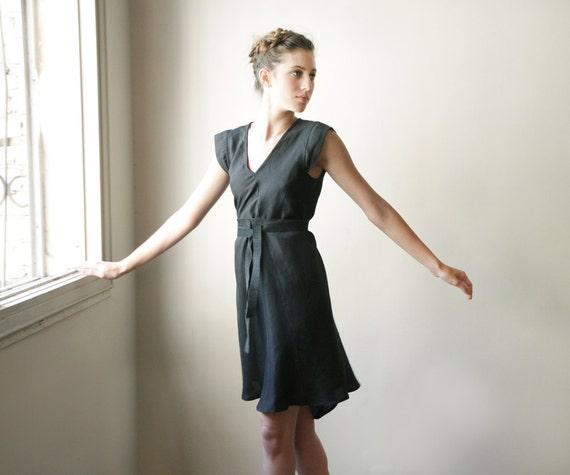 Women Black Dress ,Bridal Dress, short black dress, belted mini dress, short sleeve, loose fit, v neck top, knee length, black summer dress