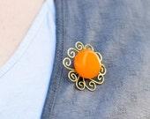 Amber Orange Brooch- Amber Vintage Brooch - Goldenrod Sun Jewelry