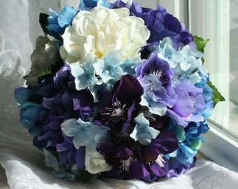Hydrangea Bouquet Set with Matching Gardenia Boutonniere - Made to Order with Your Wedding Colors - Garden, Rustic, Shabby Chic, Bridesmaids