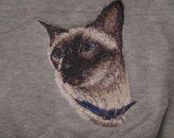 "Embroidered ""Siamese Cat"" Hoodie Sweatshirt"