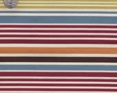 Designer Fabric By the Yard Ivory and stripes fabric Brown Yellow Green Orange Blue on cream