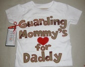 """Hand Stitched Deployment Shirt or Onesie """"Guarding Mommy's Heart for Daddy"""" 4 Camo Options"""