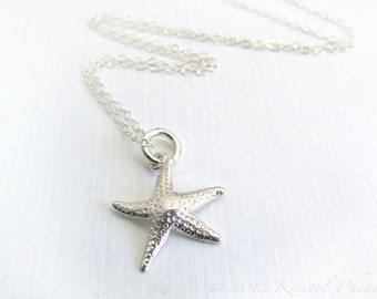 """SALE - Sterling Silver Starfish Necklace - pendant necklace 3/4"""", bright or oxidized antiqued, friend, daughter, bridesmaid, Gift"""