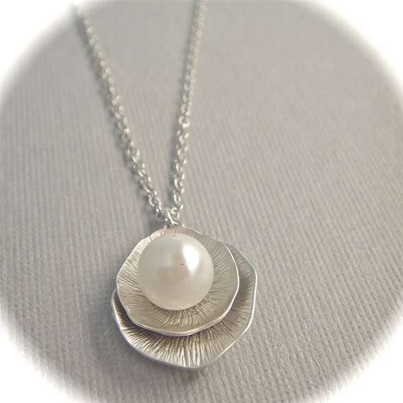 Silver Lotus Leaves and Oyster Pearl Necklace- Gift- Holiday-SALE