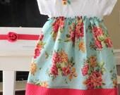 Shabby chic dress.  Teal baby onesie dress. Baby gift. Onesie dress with retro rose floral print.  Newborn - 24months