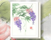 "Watercolor Chinese Brush Painting Card: ""Wisteria"""