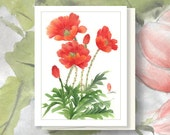 """Watercolor Chinese Brush Painting Card: """"Poppies"""" for Mom"""