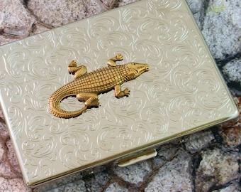Alligator Cigarette Case Business Card Case Gator Steampunk Gothic Victorian Silver Finish Metal Wallet