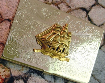 Ship Business Card Case Nautical Pirate Holder Silver  Metal Wallet