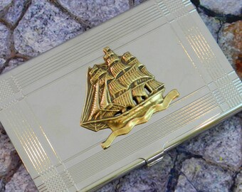 Ship Business Card Case Nautical Card Holder - Tall Ship
