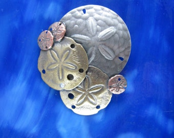 Sand Dollar Brooch- Sand Dollar Jewelry- Seashells- Dand Dollar Pendant