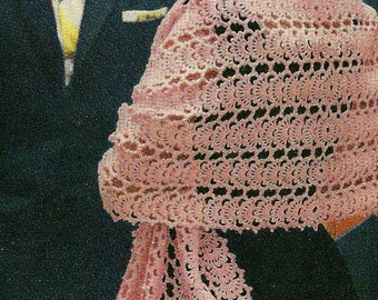 A BEST Vintage 1950s Fancy Formal Lace Stole Wrap 733 PDF Digital Crochet Pattern