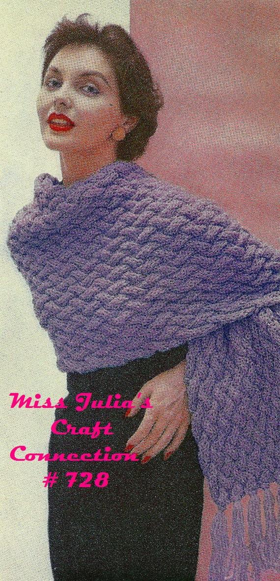 Vintage 1950s BasketWeave Stitch Stole Wrap 728 PDF Digital Knit Pattern