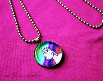 "Rainbow Pink Unicorn 1"" Pendant Necklace - or 2 for 20 - Happy Magic Fluffy - ReLove Plan.et"