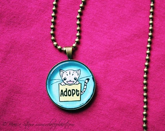 "Adopt Don't Shop Kitty 1"" Pendant Necklace - or 2 for 20 - Animal Rights Pet Cat - ReLove Plan.et"