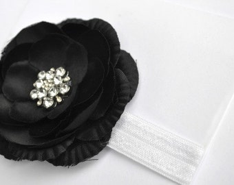 Black Flower Headband - Newborn Headband - Shabby Black Flower - Baby Photo Prop