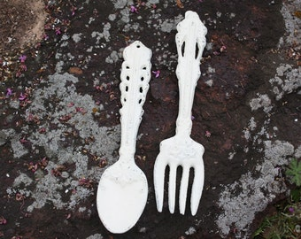 PICK YOUR COLOR Cast Iron Fork and Spoon Wall Decor